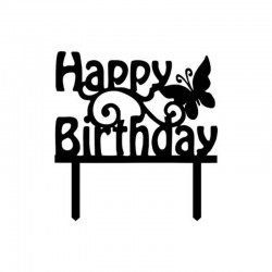 Topper Happy Birthday negru