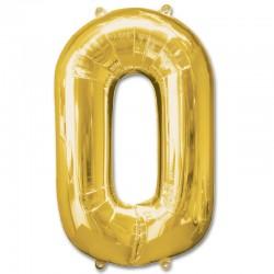 Balon cifra 0 auriu 101,6 cm