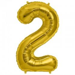 Balon cifra 2 auriu 101,6 cm