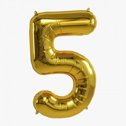 Balon cifra 5 auriu 101,6 cm