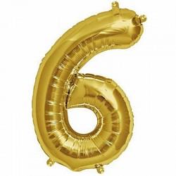 Balon cifra 6 auriu 101,6 cm
