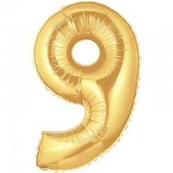 Balon cifra 9 auriu 101,6 cm