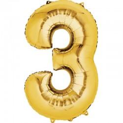 Balon cifra 3 auriu 43 cm
