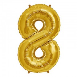 Balon cifra 8 auriu 43 cm