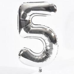 Balon cifra 5 argintiu...
