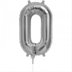 Balon cifra 0 argintii 43 cm