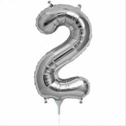 Balon cifra 2 argintiu 43 cm