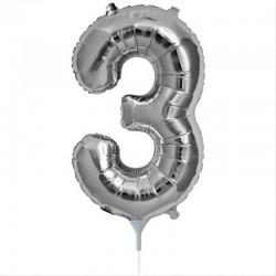 Balon cifra 3 argintiu 43 cm
