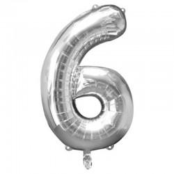 Balon cifra 6 argintiu 43 cm