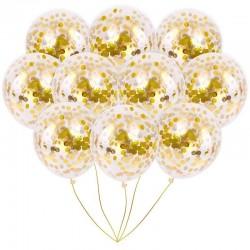 Balon cu confetii auriu 30 cm